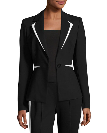 Escada Contrast-Trim One-Button Blazer, Black/White and Matching