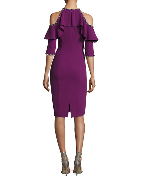 Cold-Shoulder Beaded Cocktail Dress, Dark Plum