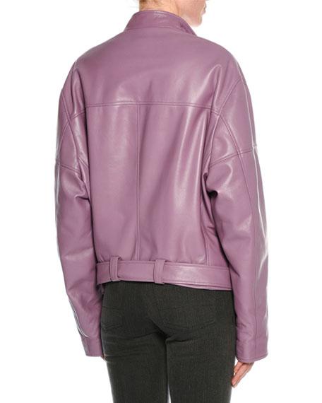 Lamb Leather Oversized Moto Jacket, Lilac