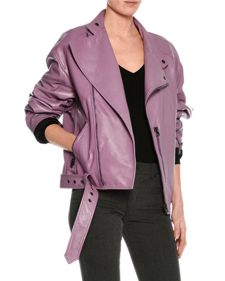 TOM FORD Lamb Leather Oversized Moto Jacket, Lilac
