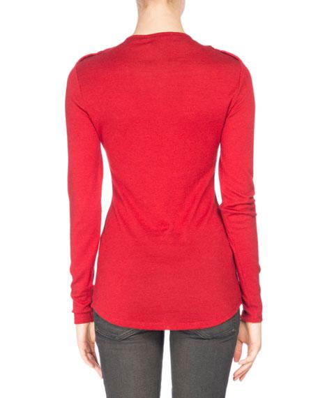 Long-Sleeve Button-Trim Jersey Top