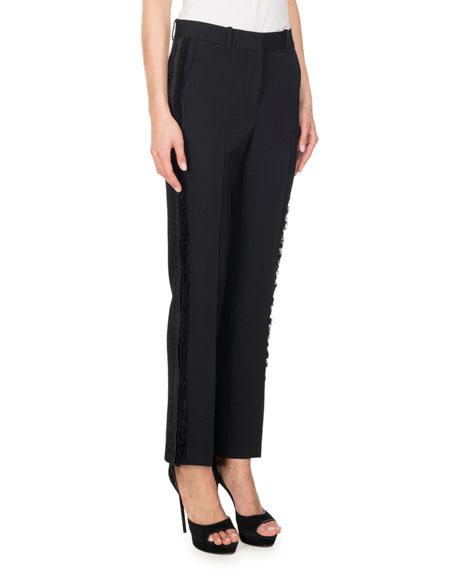 Lace-Trim Wool Straight-Leg Pants, Black