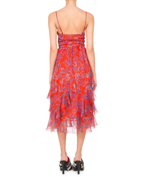 Floral-Print Chiffon Ruffle-Hem Midi Dress, Orange