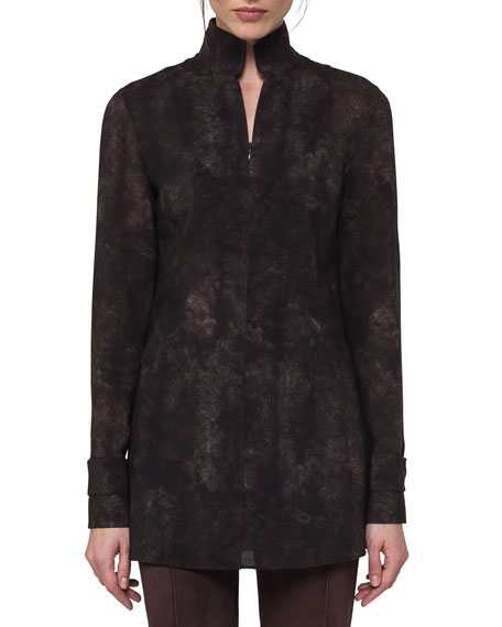Akris Shearling-Print Wool Stand-Collar Blouse