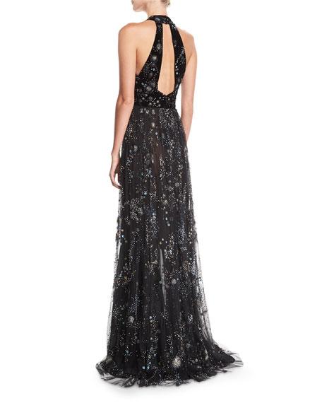 Beaded Lace Cold-Shoulder Fringe Gown