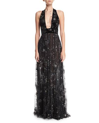 Beaded Lace Cold-Shoulder Fringe Gown