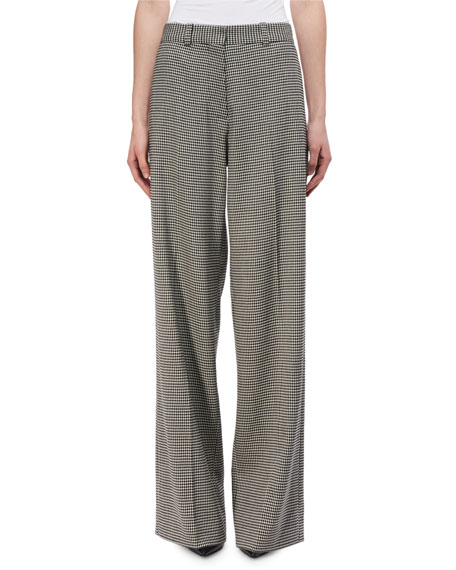 Wide-Leg Virgin Wool Houndstooth Pants