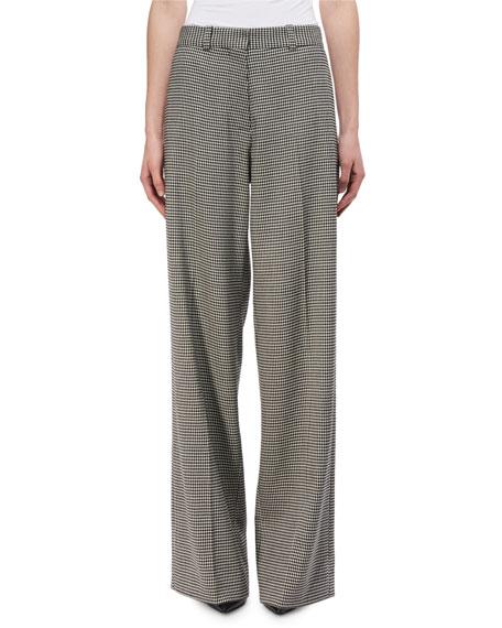 Wide-Leg Virgin Wool Houndstooth Pants