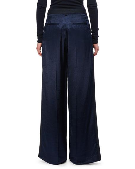 Pleated Wool Wide-Leg Trousers