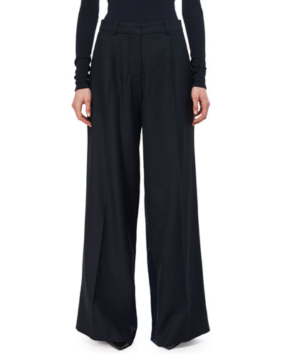 Pleated Wool Wide-Leg Trousers