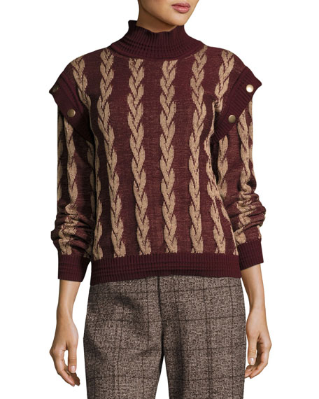 Layered-Sleeve Cable Wool Sweater