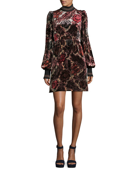 Marc Jacobs Floral Velvet Jacquard Dress