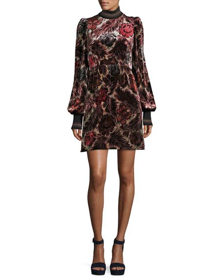 Fl Velvet Jacquard Dress