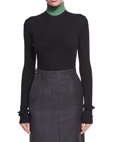 CALVIN KLEIN 205W39NYC Colorblock Ribbed Turtleneck Sweater