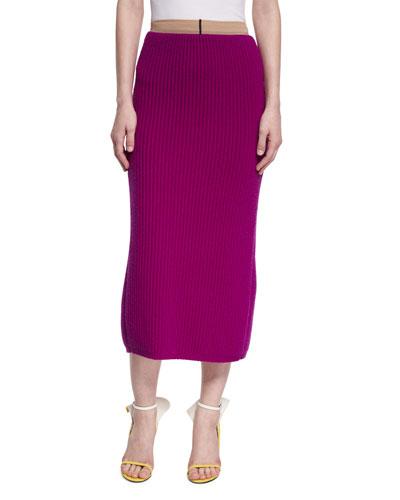 Ribbed Wool-Silk Pencil Skirt
