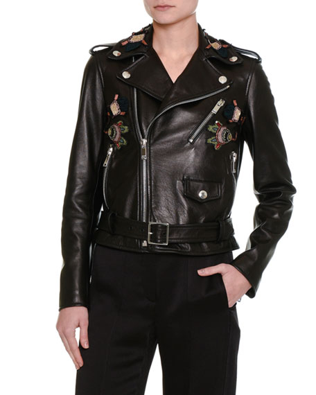 Pop-Flower Embroidered Leather Moto Jacket