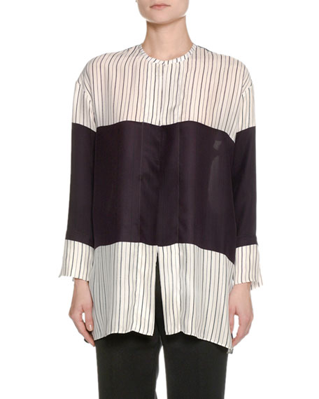 Piazza Sempione Striped Colorblock Silk Shirt