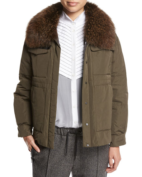 Brunello Cucinelli Taffeta Puffer Jacket with Fox Fur
