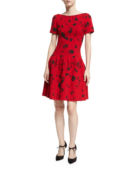 Oscar de la Renta Poppy-Print Short-Sleeve Fit &