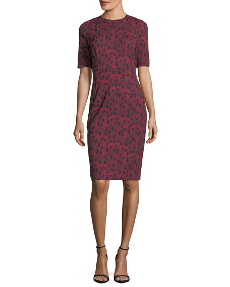 Carolina Herrera Half-Sleeve Leopard-Print Sheath Dress