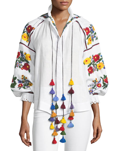 Floral-Embroidered Linen Tassel Blouse