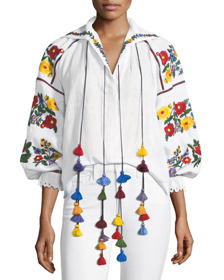 Vita Kin Floral-Embroidered Linen Tassel Blouse