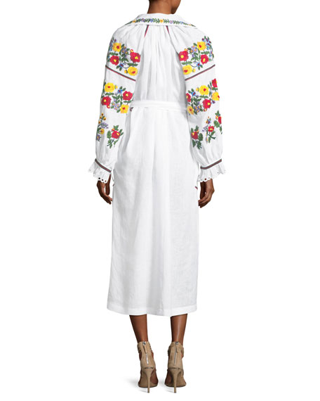 Floral-Embroidered Linen Poet-Sleeve Midi Dress