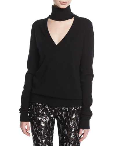 Cashmere Cutout Turtleneck Sweater