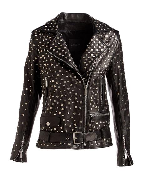 Galilee Nailhead-Studded Oversized Leather Biker Jacket
