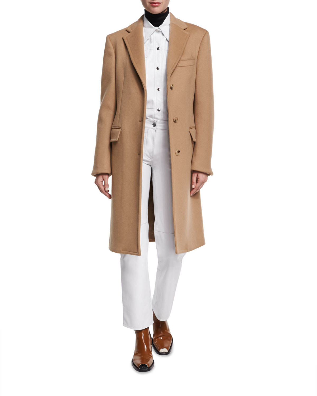 6e040a0316520 CALVIN KLEIN 205W39NYC Double-Face Virgin Wool Single-Breasted Coat ...