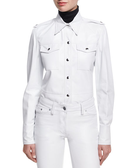 CALVIN KLEIN 205W39NYC Leather Snap-Front Utility Shirt, White