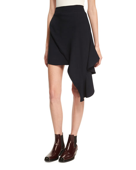 CALVIN KLEIN 205W39NYC Draped Sable High-Low Miniskirt