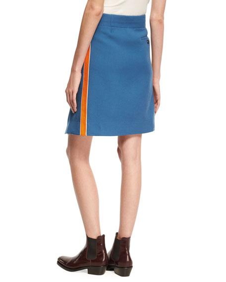 Twill Side-Stripe Knee-Length Wrap Skirt