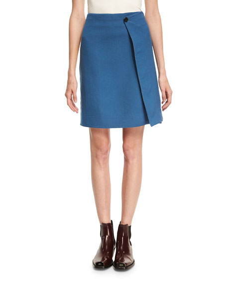 Twill Side-Stripe Knee-Length Wrap Skirt
