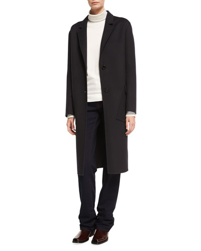 Cashmere Single-Breasted Coat with Diagonal Pockets