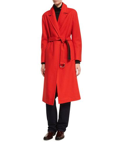 Belted Long Wool Wrap Coat
