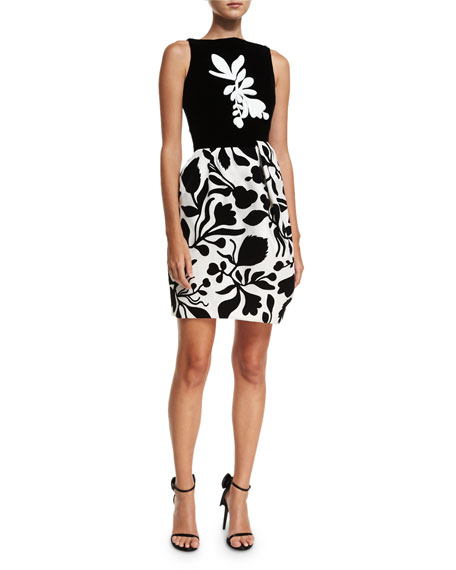 Oscar de la Renta Sleeveless Bold Floral Dress