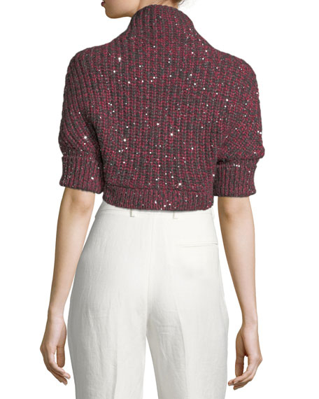 Cashmere-Silk Paillette Cropped Sweater