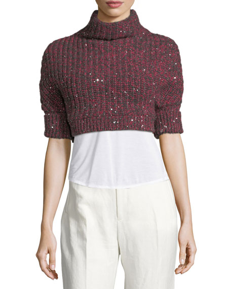 Cashmere-Silk Paillette Cropped Sweater