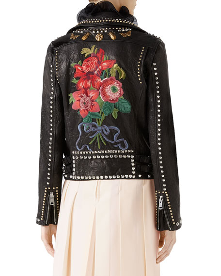 Leather Biker Jacket with Studs