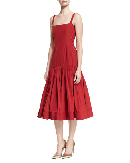 Danika Double-Layer Taffeta Midi Dress