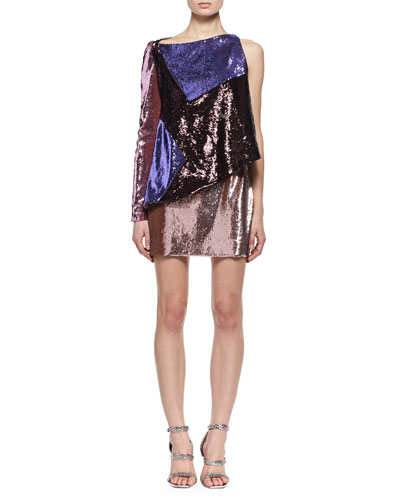 Sequined Colorblock One-Sleeve Dress
