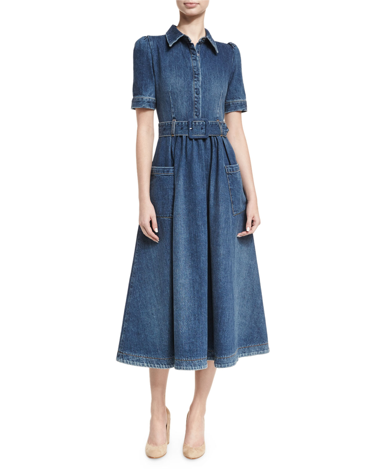 90c50d0479 Co Belted Denim Midi Shirtdress