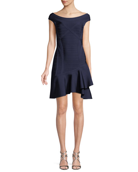 Herve Leger Nicole Scoop-Neck Ruffle-Hem Minidress