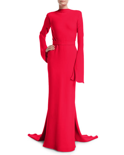 Long-Sleeve Gown with Waterfall Train
