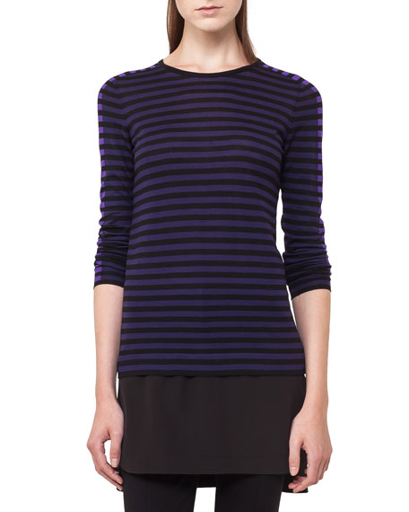 Akris punto Striped Knit Pullover Top w/Shirttail Underlay