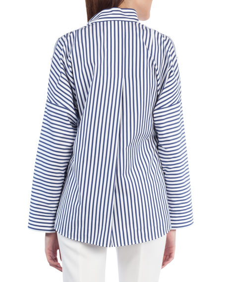Striped Button-Shoulder Cotton Blouse