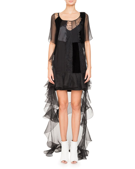 Givenchy High-Low Short-Sleeve Ruffled Chiffon Lace Cocktail