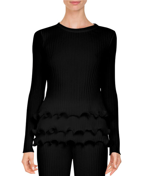 Givenchy Crewneck Rib-Knit Sweater w/ Tiered Ruffle Hem