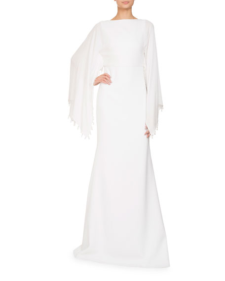 Boat-Neck Cape Sleeves Stretch-Cady Evening Gown w/ Embellishments